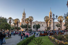 Plaza de Armas και καθεδρικός ναός - Arequipa, Περού Στοκ εικόνες με δικαίωμα ελεύθερης χρήσης