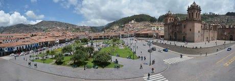 Plaza de Armas με τον καθεδρικό ναό Santo Domingo, Cuzco, Περού Στοκ Φωτογραφίες