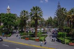 Plaza de Armas πλατεία με τον καθεδρικό ναό βασιλικών Arequipa, Arequ Στοκ Φωτογραφία