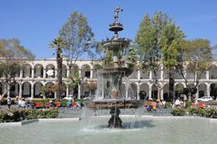 Plaza de Armas, Arequipa, Peru. Royalty Free Stock Images
