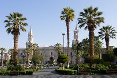 Plaza de Armas in Arequipa, Peru, South America stock photography