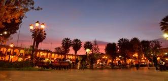 Plaza de Armas au crépuscule arequipa peru Images libres de droits