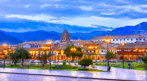 Plaza de Armas cedo na manhã, Cusco, Peru imagens de stock royalty free