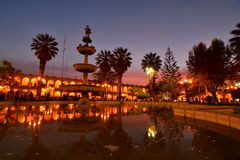Plaza de Armas at dusk. Arequipa. Peru. Arequipa is the capital and largest city of the Arequipa Region and the second most populous city in Peru royalty free stock image