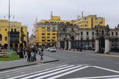 Plaza DE Armas en park van de vlag in Lima, Peru Stock Foto