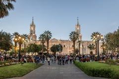 Plaza de Armas et cathédrale - Arequipa, Pérou Image libre de droits