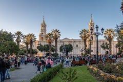 Plaza de Armas et cathédrale - Arequipa, Pérou Images libres de droits