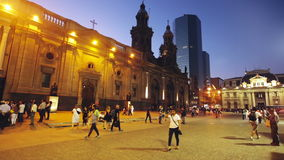 Plaza de Armas in the evening with the city lights in Santiago stock footage
