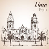 Plaza de Armas le Pérou de Lima croquis Photos stock