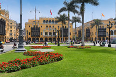 Plaza de Armas, Lima, Peru. Lima, the capital of Peru, lies on the country's arid Pacific coast. The Plaza de Armas and the 16th-century cathedral are the heart royalty free stock image
