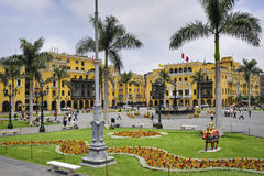 Plaza de armas in Lima, Peru. During cloudy day Stock Photography