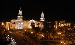 Plaza de Armas by night Royalty Free Stock Photo