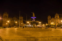 Plaza de Armas at night , Cusco, Peru Royalty Free Stock Images
