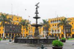 Plaza de Armas (Plaza Mayor) of Lima, Peru Royalty Free Stock Photos