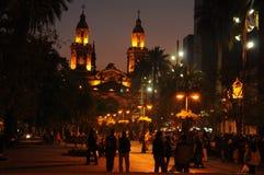 PLAZA DE ARMAS, SANTIAGO DE CHILE. AT NIGHT Royalty Free Stock Images