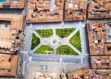 Plaza De Armas sqare in Cusco, Peru. Aerial view Royalty Free Stock Images