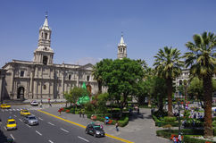 Plaza de Armas square with Basilica Cathedral of Arequipa, Arequ Stock Photo