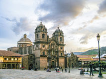 Plaza de armas in sunset with local people Stock Photo