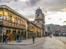 Plaza de armas in sunset with local people Stock Image