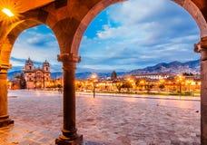 Plaza de Armas tidigt i morgonen, Cusco, Peru arkivfoto