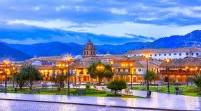 Plaza de Armas tidigt i morgonen, Cusco, Peru royaltyfria bilder