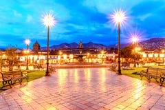 Plaza de Armas tidigt i morgonen, Cusco, Peru fotografering för bildbyråer