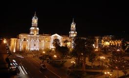 Plaza de Armas vid natt Royaltyfri Foto