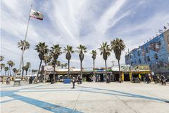 Plaza de barlovento enrrollada en la playa California de Venecia Foto de archivo libre de regalías