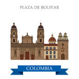 Plaza de Bolivar Bogota Colombia vector flat attraction landmark Royalty Free Stock Images