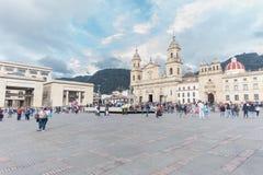 Plaza de Bolivar e catedral de Bogotá fotos de stock royalty free