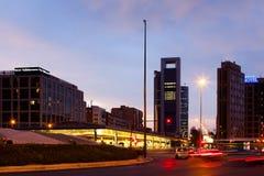 Plaza de Castilla in evening. Madrid, Spain Royalty Free Stock Images