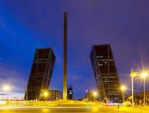 Plaza de Castilla in night. Madrid Stock Image