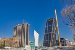 Plaza De Castilla with Puerta de Europa Towers in Madrid, Spain Stock Photography