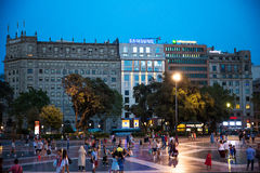 Plaza de Catalogna, Barcellona, Spagna Fotografia Stock Libera da Diritti