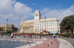 Plaza de Cataluna, Barcelona Arkivbild