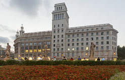 Plaza de Catalunya - άποψη νύχτας Στοκ Εικόνα