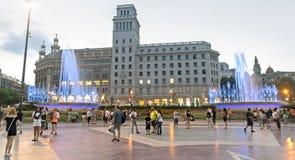 Plaza de Catalunya - άποψη νύχτας Στοκ φωτογραφίες με δικαίωμα ελεύθερης χρήσης