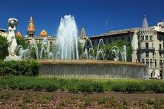 Plaza de Catalunya a Barcellona Immagini Stock Libere da Diritti