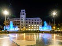 Plaza de Catalunya. Nighttime view of Plaza de Catalunya in Barcelona, Spain royalty free stock image