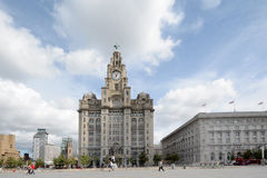 Plaza de centre de la ville de Liverpool avec du foie buiding Images stock