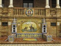 Plaza de cerámica Espana del banco de Ciudad Real Foto de archivo libre de regalías