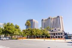 Plaza de Cesar Chavez, San Jose, Silicon Valley, Kalifornien Arkivbild