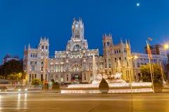 Plaza de Cibeles στη Μαδρίτη με το παλάτι της επικοινωνίας Στοκ φωτογραφία με δικαίωμα ελεύθερης χρήσης