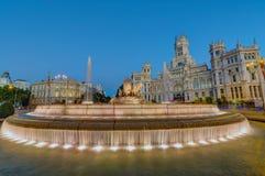 Plaza de Cibeles στη Μαδρίτη τη νύχτα Στοκ Εικόνες