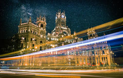 Plaza de Cibeles στη Μαδρίτη τη νύχτα Στοκ Φωτογραφία
