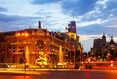 Plaza de Cibeles στο θερινό σούρουπο. Μαδρίτη Στοκ εικόνες με δικαίωμα ελεύθερης χρήσης