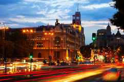 Plaza de Cibeles στο σούρουπο. Μαδρίτη Στοκ εικόνες με δικαίωμα ελεύθερης χρήσης