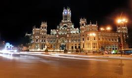 Plaza de Cibeles τή νύχτα, Μαδρίτη, Ισπανία Στοκ Φωτογραφίες