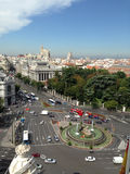 Plaza de Cibeles. An aerial view of the Plaza de Cibeles in Madrid, Spain royalty free stock photography