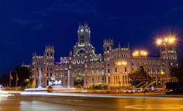 Plaza de Cibeles at Blue Hour. Plaza de Cibeles at Night in Madrid. The Plaza de Cibeles and its majestic post office building is an icon and landmark of Madrid Royalty Free Stock Images
